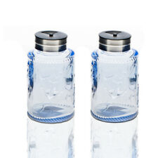 Solid Color Glass Salt and Pepper Shakers Set With Stainless lid. Blue