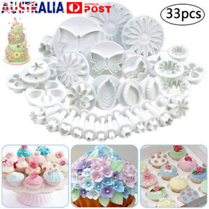 Plunger Cutters Cake Decorating Fondant Cookie Biscuit Baking Mold Flower 33pcs