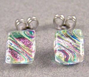 """DICHROIC GLASS Post EARRINGS Clear Opal Pink Magenta Pastel Ripple STUD 1/4"""" 8mm"""