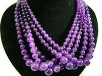 """Fashion 5 Strands 6-14mm Russican Amethyst Gemstones Round Beads Necklace 18"""""""