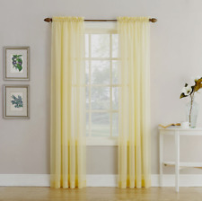 "Home Expressions Jacqueline Rod-Pocket Sheer Panel Pair Yellow 118"" x 95"""