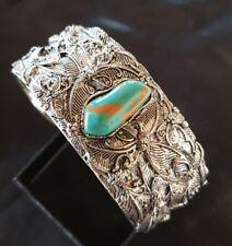 Tibet Silver Filigree Faux Copper Turqouise Cuff Bracelet Bangle Repousse 3D