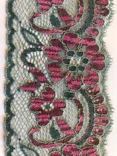 Green and cerise stretch lace trim - 7cm wide