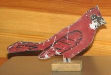 antique galvanized Primitive Folk Art Red Cardinal figure Shooting Target