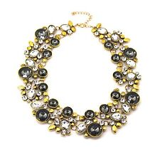Gold Tone Collar Necklace Clear and Hematite Crystal