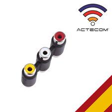 ACTECOM® ADAPTADOR PROLONGADOR 3 RCA VIDEO Y AUDIO HEMBRA HEMBRA AV EMPALME