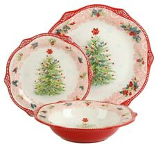 Pioneer Woman Cheerful Rose Wreath Lace Tree Holiday 3 Pc Set Plates Bowl Red