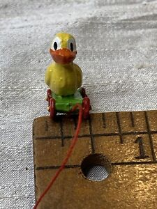 dollhouse miniature Duck Vintage Style Metal  Painted Pull Toy EVK57