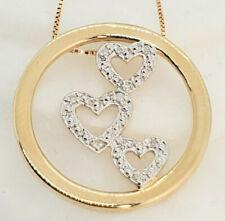 "14k Yellow Gold 9 Diamonds 3 Hearts Love Circle Pendant 18"" Box Chain 3.7 Gram"