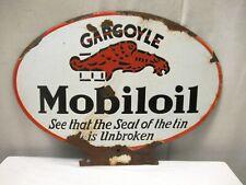"""Vintage Gargoyle Mobil Oil Porcelain Enamel Signboard Oval Shape Gas Pump Sign """""""