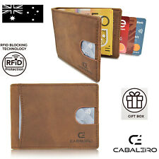 Cabaleiro Mens Slim Brown Leather Bifold Wallet With RFID Blocking & Money Clip