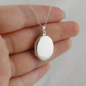 Plain Oval Locket Necklace - 925 Sterling Silver Engravable Two Sided Photo NEW
