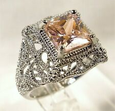 Beautiful Filigree Victorian Style Pink Sapphire Sterling Silver Ring Sz 6