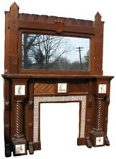 VICTORIAN WALNUT FIREPLACE MANTEL WITH TILES