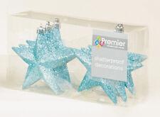 12 X Pâle Bleu Glace étoiles scintillantes shatterproof Arbre de Noël Baubles Décorations