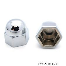 "12 Chrome 3/4"" Metal Acorn Nut Caps & Bolt Covers - Custom Car Truck Motorcycle"