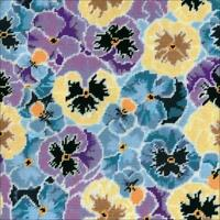 "Design Works Needlepoint Kit Pansies 12"" X 12"" NEW 12 Count Canvas"