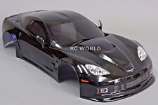 1/10 RC Car BODY Shell CHEVY CORVETTE 190mm w/ Light Buckets BLACK -FINISHED-