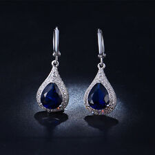 14k White Gold / Platinum Earrings made w Sapphire Blue Swarovski Crystal Stone