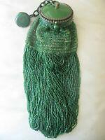 Antique Art Deco Green Round Celluloid Frame Emerald Green Fringe Bead Purse