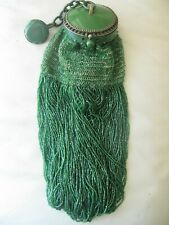 Antique Art Deco Green Round Celluloid Frame Emerald Green Fringe Bead Purse