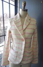 "*MANOUSH* Ivory Pink Striped Knit Blazer Sweater Jacket ""NAVIRE"" M"