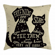 Inspirational Throw Pillow Case Cat Dog Friends Square Cushion Cover 18 Inches
