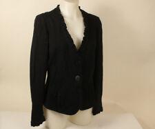 Armani Collezioni Italy Black Cotton Cardigan sweater size US 6 made in Italy