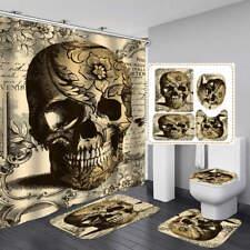 Vintage Skull Shower Curtain Bath Mat Toilet Cover Rug Bathroom Decor