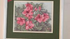 Framed C. Foret Colorart Cross Stitch Rose Azaleas Pink Flowers 13 x15 Jca New