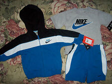 Nike Outfit 3pc Set Jacket Shirt Shorts Infant Baby Boys 12 Mos Blue New