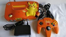 Nintendo64 Pokemon Pikachu limited Orange Color Console,Pad,PSU set tested-a323-