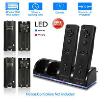 2/4 Charger Charging Dock Station +2/4 Battery For Wii/Wii U Remote Controllerus