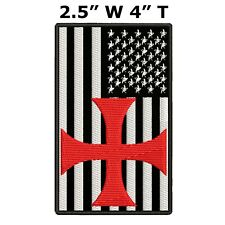 TEMPLAR CROSS USA US Flag Embroidered Patch Hook Backing Military Applique