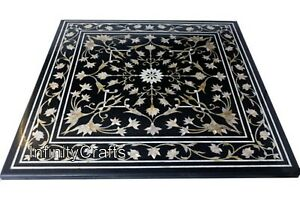 30 x 30 Inch Modern Coffee Table Top with Heritage Art Marble Inlay Center Table