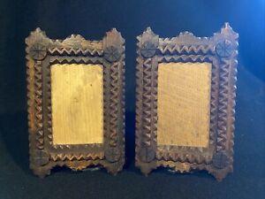 Antique Picture Frames Tramp Art Chip Carved Frames 1920/30 Depression Art Pair