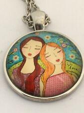 BEST FRIENDS  cabochon necklace GIRLS TOGETHER   UK seller        G2