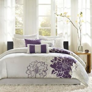 Modern Purple Grey & White Floral Comforter Set AND Decorative Pillows