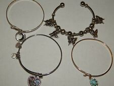 Bracelet Friendship Butterfly Moon Lot 4 Silver Tone Bangle Wire Cuff Mixed Set
