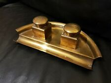 More details for art deco brass inkwells desk stand clean curved shape