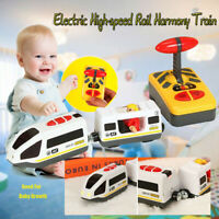 Remote Control RC Electric Train Toys Connected Wooden Railway Track Santa Gift