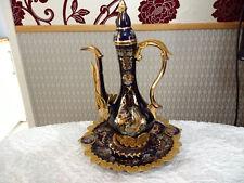 Exquisite Vintage Cobalt Blue Gold Gilt Ornate Beverage Wine Decanter on Plate
