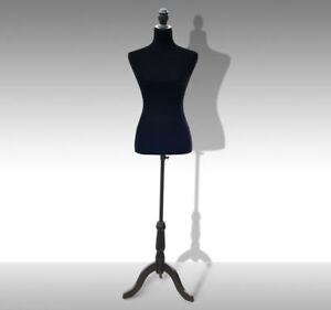 Female Mannequin Tailor Dress Form Torso Dressmaker Display w/ Stand Black (M)