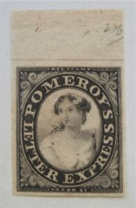 Mint 1844 US Local 117L4 Pomeroy's Black with Huge Top Margin MNG
