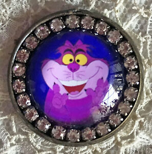 CHESHIRE CAT Pink Glass Rhinestone BROOCH Lapel Scatter Pin Alice in Wonderland