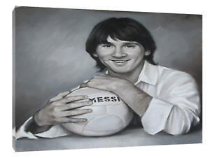 LIONEL MESSI DRAWN WITH CHARCOAL SOFT PASTEL PRINT ON FRAMED CANVAS  WALL ART