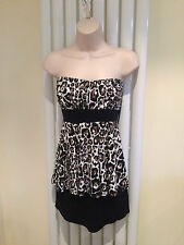 JANE NORMAN Stunning Leopard Print Stretch Peplum Party Dress Size 14