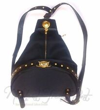 Vintage Gianni Versace Gold Sun Logo Backpack Shoulder Bag Purse Leather Straps