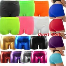 LADIES WOMEN GIRLS NEON LYCRA STRETCHY SEXY HOT PANTS SHORTS DANCE GYM PARTY SHT