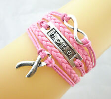 Infinity/Hope/Cancer Awareness Ribbon Charms Leather Braided Bracelet - Hot Pink